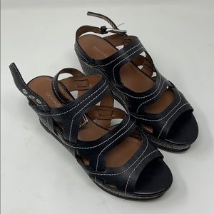 Donald J Pliner Black Leather Wedge Sandals Size 7
